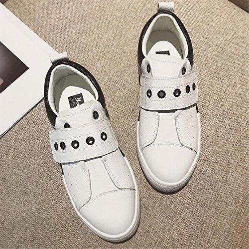 Frauen Schuhe aus echtem Leder Klettverschluss Befestigung Plattform Turnschuhe Weiß Größe 35 To38