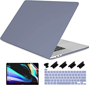 Dongke MacBook Pro 13 inch Case 2019 2018 2017 2016 Release A2159 A1989 A1706 A1708, Cream Color Series Matte Plastic Hard Shell Cover for MacBook Pro 13 with Touch Bar Retina Display Lavender Gray
