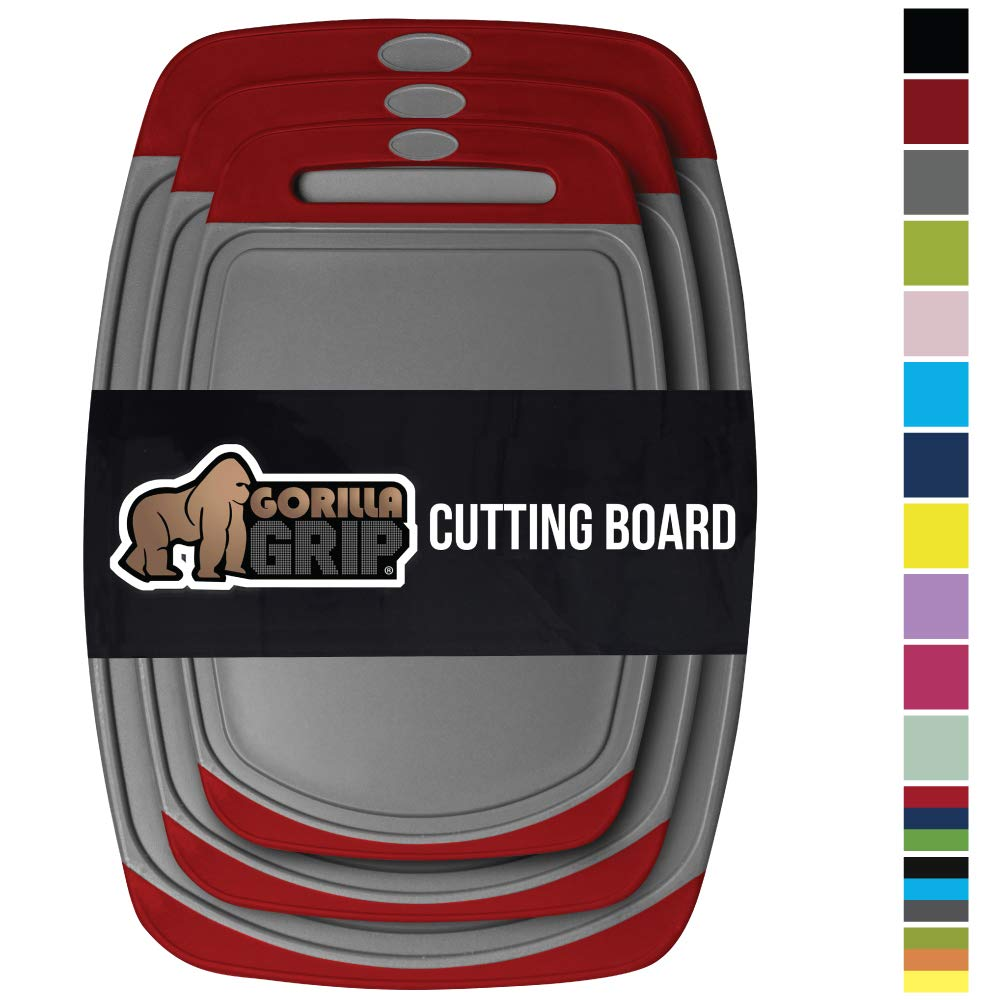 GORILLA GRIP Original Reversible Cutting Board, 3 Piece, BPA Free, Juice Grooves, Larger Thicker Boards, Easy Grip Handle, Dishwasher Safe, Non Porous, Extra Large, Kitchen, Set of 3, Gray Red