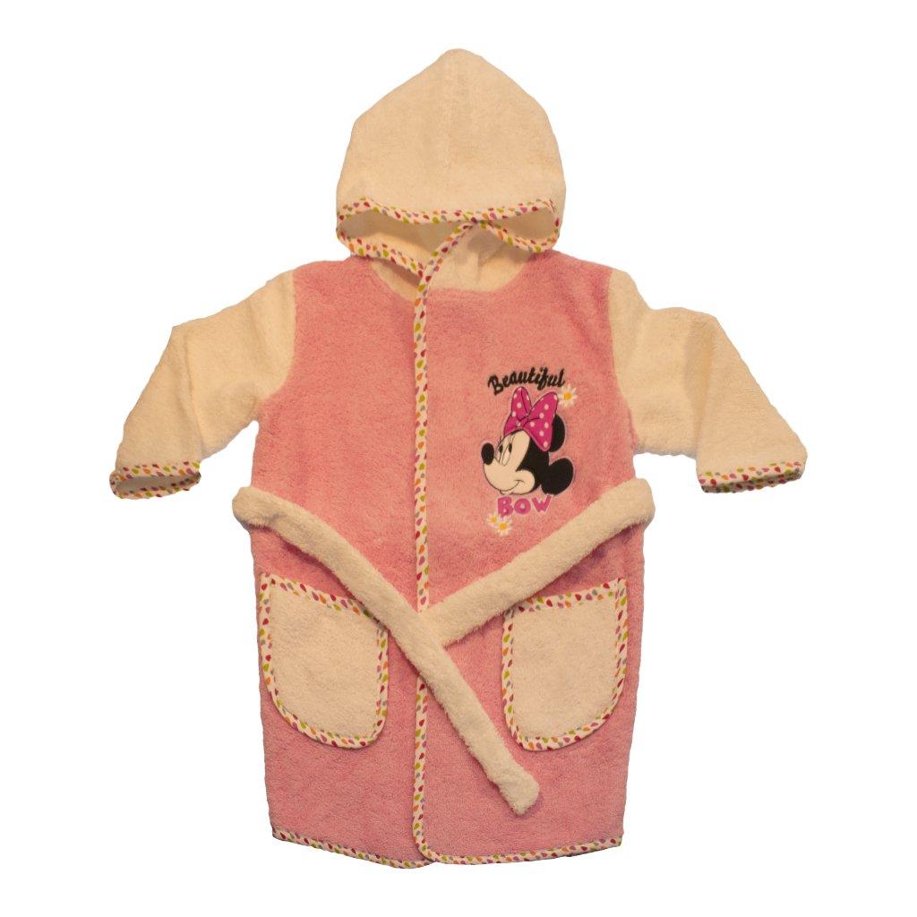 Baby- und Kinder-BADEMANTEL Mädchen mit Minnie Mouse Motiv, Kapuzen-BADETUCH mit Gürtel, Baby-Handtuch mit Taschen in Grösse 86-92, 98-104, 110-116 aus BAUMWOLLE, SUPER WEICH