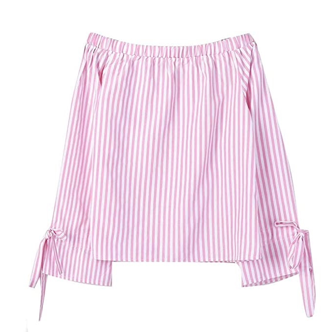 Las Mujeres PANY Moda Manga Larga Blusa Rayas de impresión Camisas Atractivas Fuera del Hombro Tops