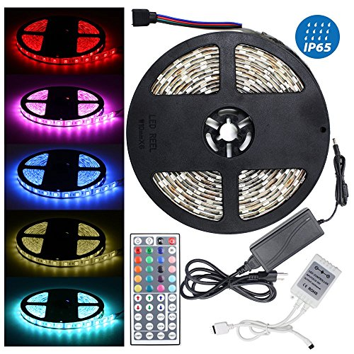 16.4ft/5M 5050 300LED RGB multi-color Waterproof(IP-65) SMD Flexible Strip light Kit with 44 key IR Remote Controller + 12V 5A Power Supply