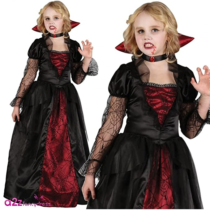 GIRLS VAMPIRE PRINCESS HALLOWEEN OUTFIT , (RED, BLACK)