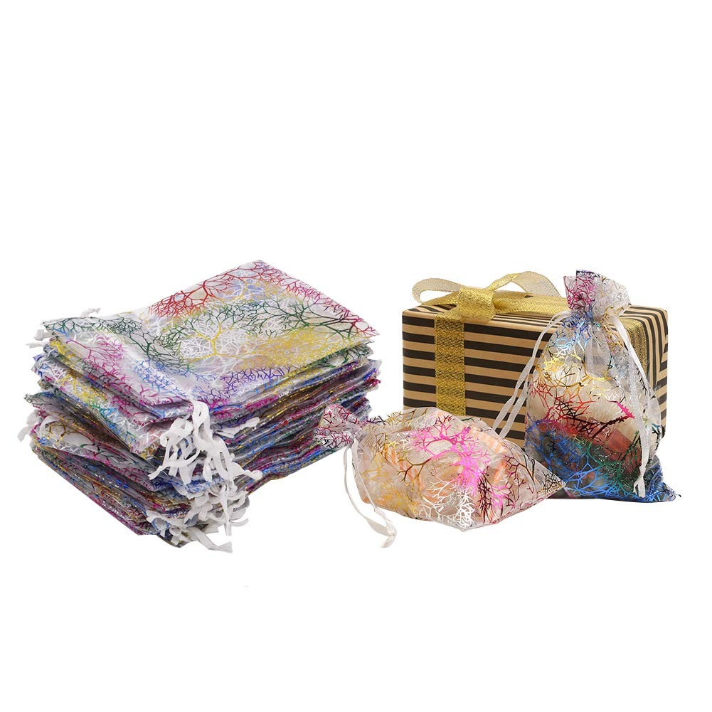 """HRX Package Organza Drawstring Bags,100pcs 4""""x 6"""" Coralline White Organza Gift Pouches for Jewelry Earings Wedding Candy Party Favors"""