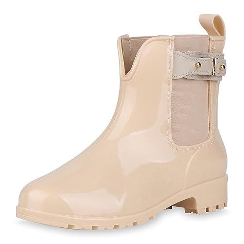 sports shoes 423c2 296b5 Japado Regenschuhe Damen Gummistiefel mit Block Absatz Chelsea Boots Gr.  36-41