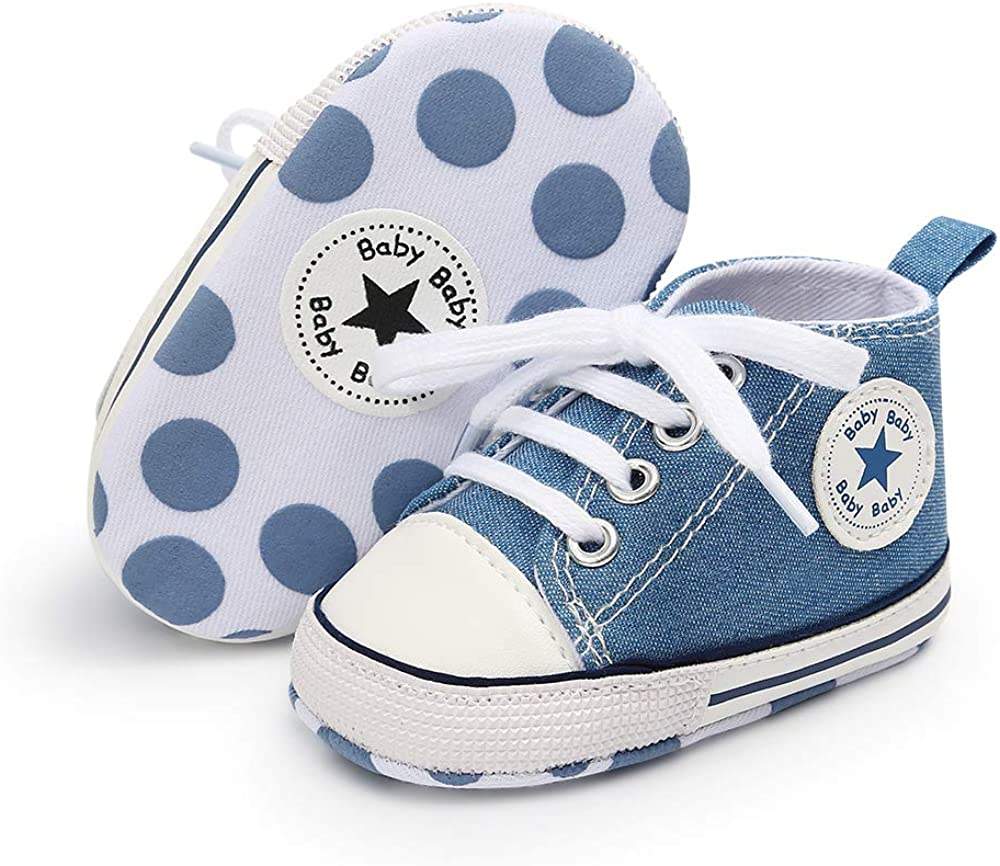 FAMI Baby Boys Girls Canvas Toddler Sneaker Anti-Slip First Walkers Candy Shoes 0-18 Months 12 Colors