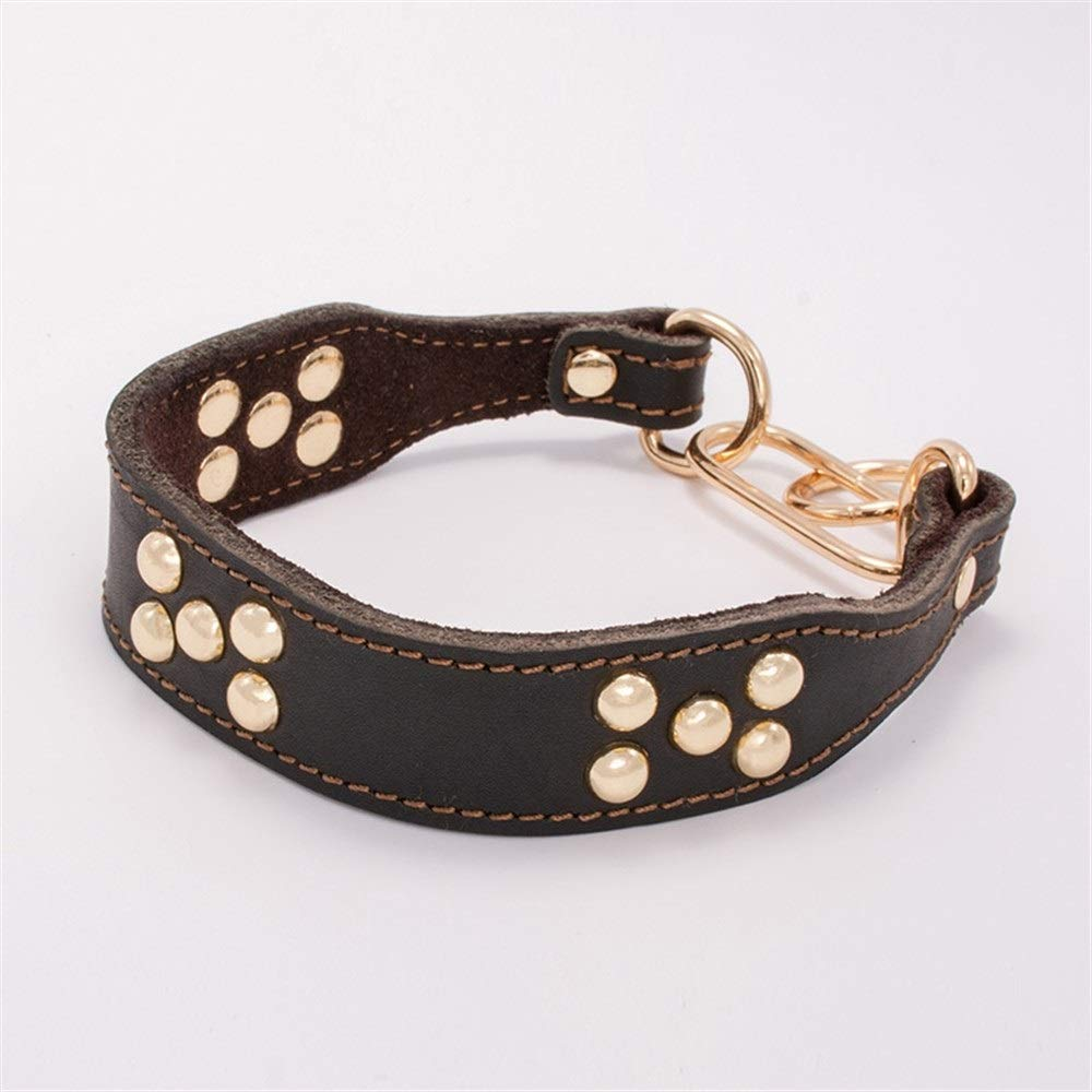 Black S-neck 30-35CM Black S-neck 30-35CM North cool Cowhide Dog Collar Collar Crest Collar Rabbit Fine Dog Bit Thin Neck Dog Leather Collar Collar (color   Black, Size   S-Neck 30-35CM)