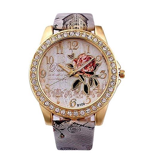 Relojes de Flores para Mujer, Relojes de señora de relojería analógicos únicos Relojes para Mujeres Relojes de Pulsera para Mujeres, Esfera de Reloj Redonda ...