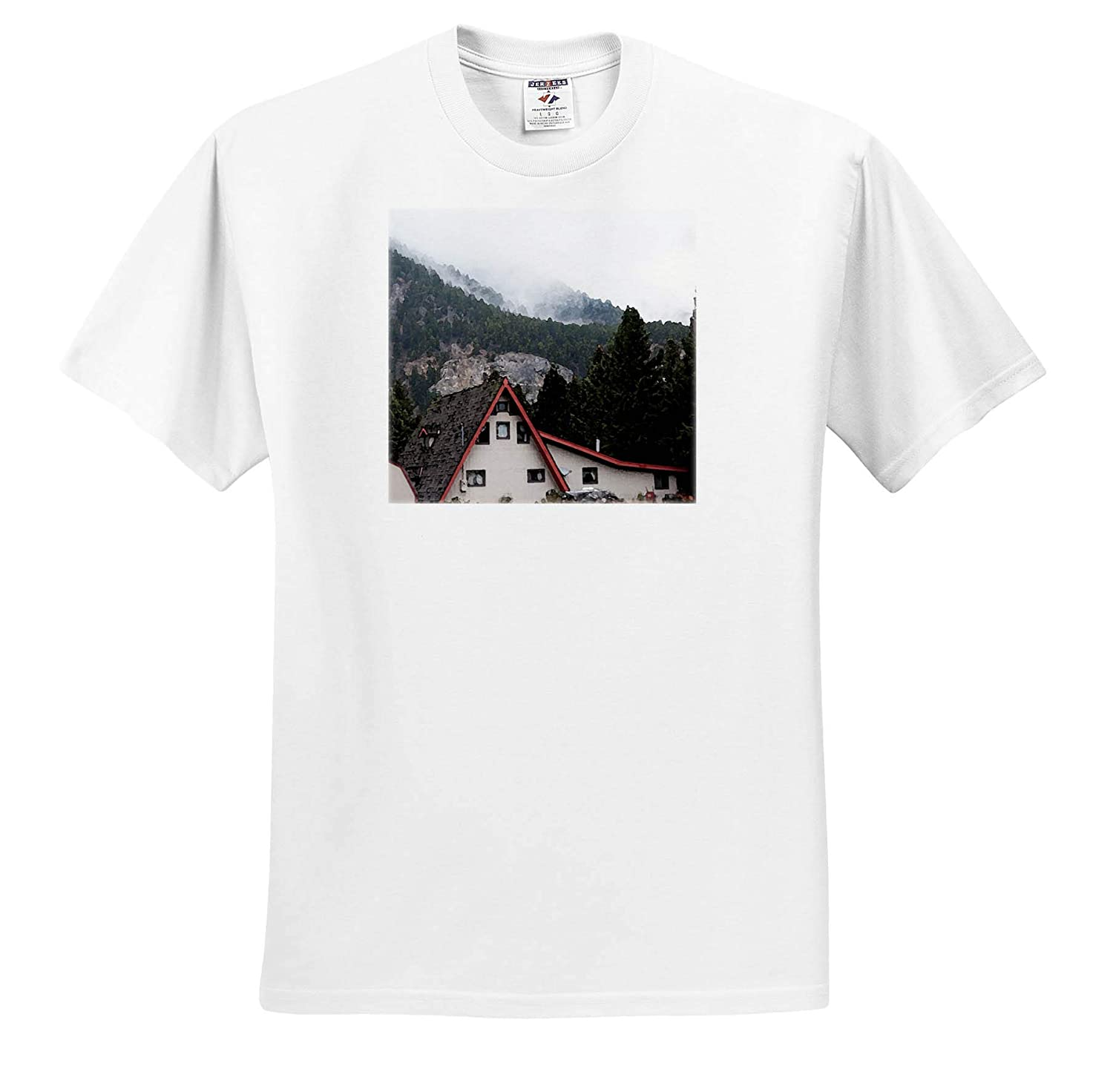 A Cabin Lined in red in Wyoming on a Misty Day by Mountains Adult T-Shirt XL ts/_320071 3dRose Jos Fauxtographee- Cabin