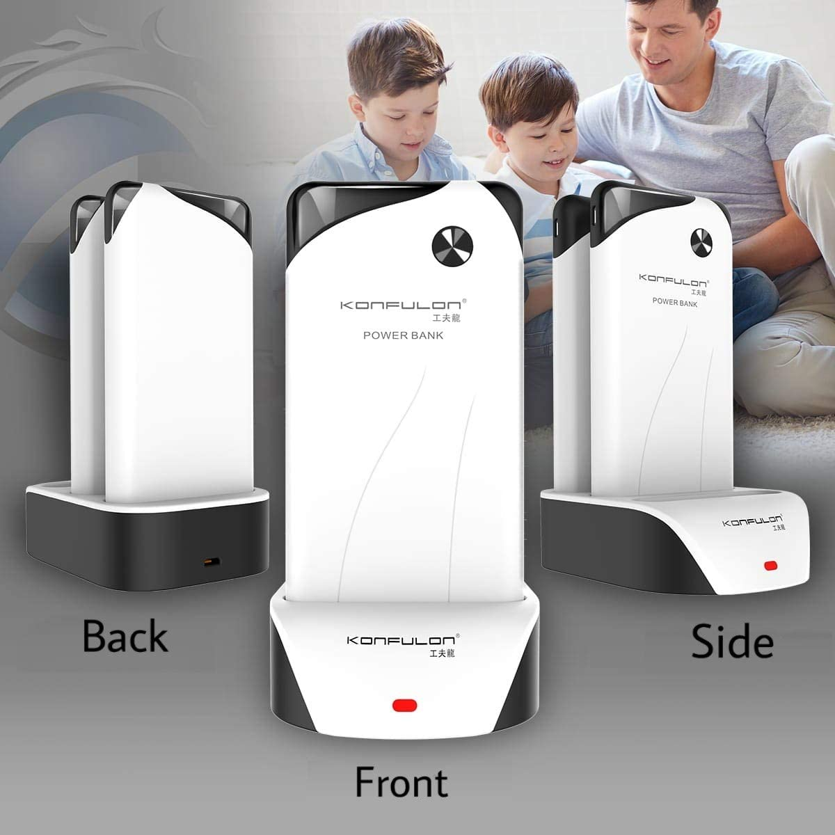 Huawei Smartphones and Tablet Devices. Slim Compact Power Bank for iPhone Samsung KONFULON Family Pack Power Bank 30000mAh LCD Display