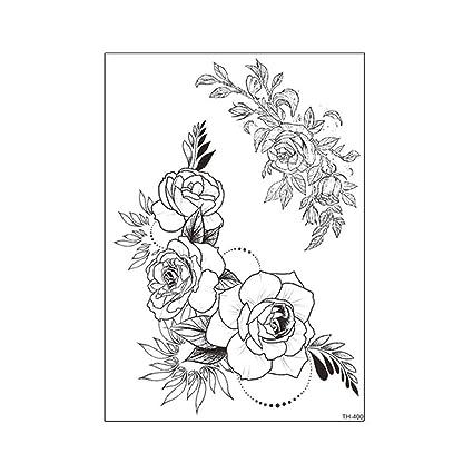 Tatuaje temporal Aplique Brazo Boceto en blanco y negro Etiqueta ...