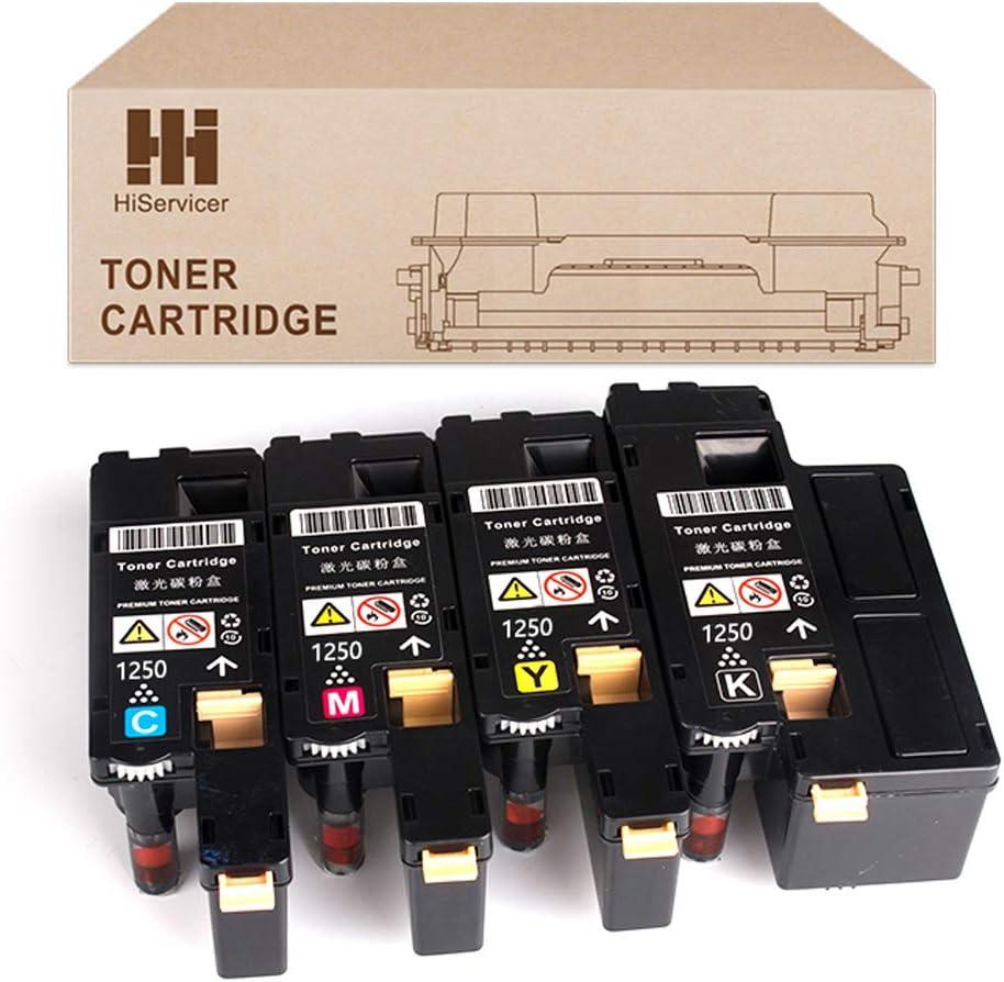 HiServicer 4 Pack 1250c Compatible Toner Cartridge Replacement For Dell 1250 Toner 1350 Toner 1760 Toner 810WH C5GC3 XMX5D WM2JC to use with 1250c,1350cnw,1355cn,1355w,C1760nw,C1765nf,C1765nfw printer
