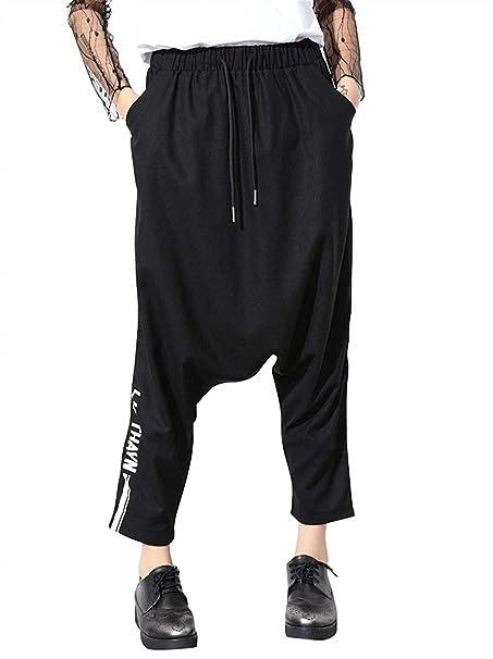 Donna Pantaloni Harem Fashion Sciolto Con Coulisse Vita Elastica Pantaloni  Eleganti Hipster Chic Ragazza Streetwear Hip Hop Stile Pluderhose Pantaloni  ... b130ed6573c6