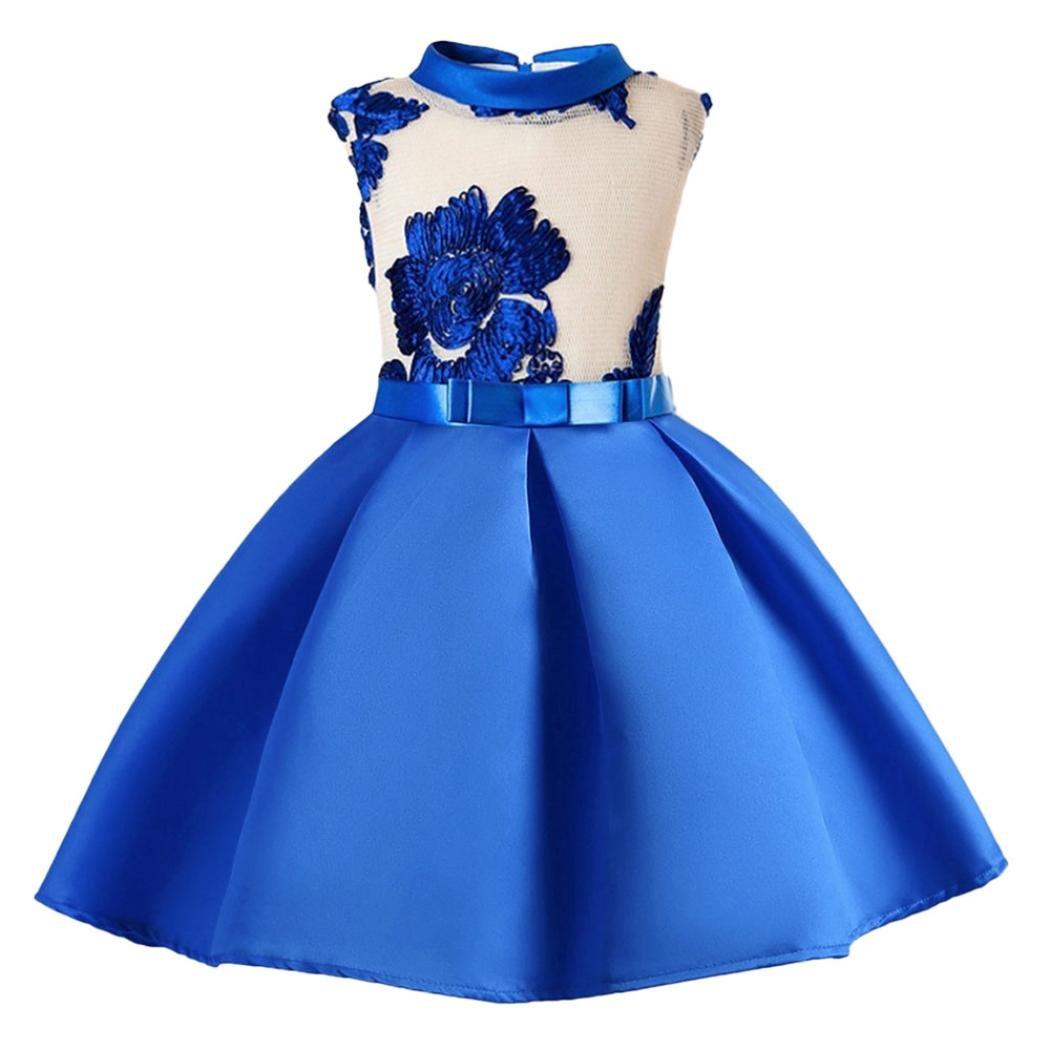 Yuxing Kids Girls Cute Wedding Princess Pageant Birthday Party Dress (Blue, 4T)