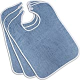 Utopia Towels Premium Quality Terry Adult Bibs (3-Pack, Blue, 18 x 30 Inches) With Velcro Closure Made From 100% Cotton - Absorbent Clothing Protector - Reusable - Machine Washable Patient Bibs