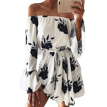 4c9ea6ca366d Amazon.com  Kstare Womens Summer Dress Floral Printed Off Shoulder Beach  Dress Long Sleeve Mini Dress (S