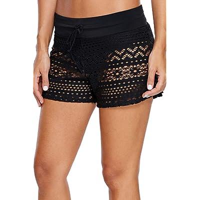 XAKALAKA Women High Waist Swim Bottom Waistband Laser Cut Swim Short with Panty S-2XL: Clothing