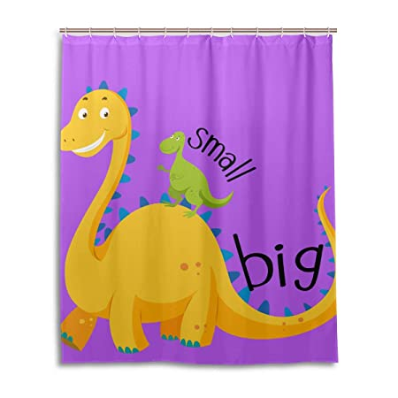 DXG1 Dinosaur Shower Curtain Set For Bathroom With Hooks Waterproof Fabric Long Bath Rings Mildew Resistant