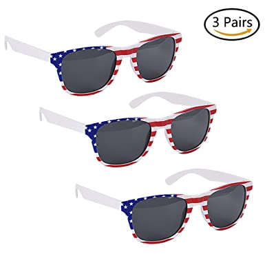 e97671f41545 Image Unavailable. Image not available for. Color  JETTINGBUY 3 Pcs American  Flag Sunglasses