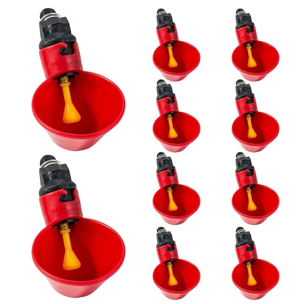Wrighteu 10Pcs Vaso de Agua de Riego para Beber Comedero Automático de Corral Cuencos de Plástico Rojo para Aves Paloma Gallinas