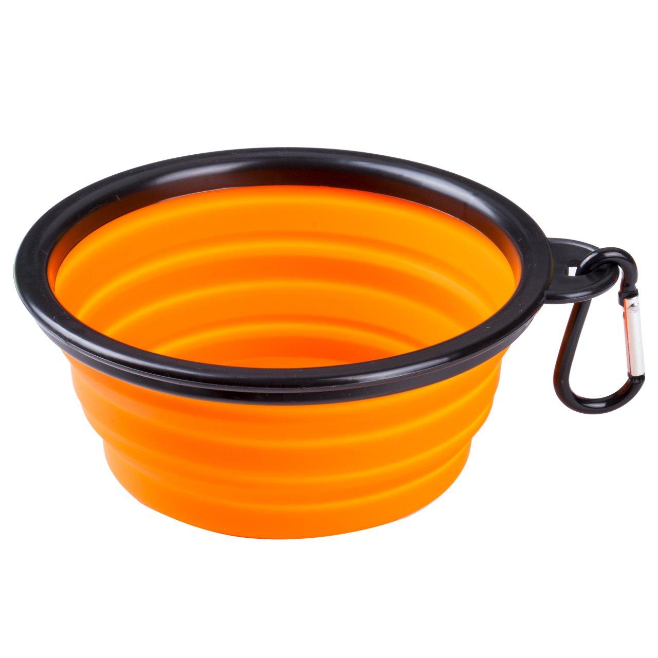 Portable Foldable Collapsible Pet Cat Dog Food Water Feeding Bowl Dish Feeder (Orange)