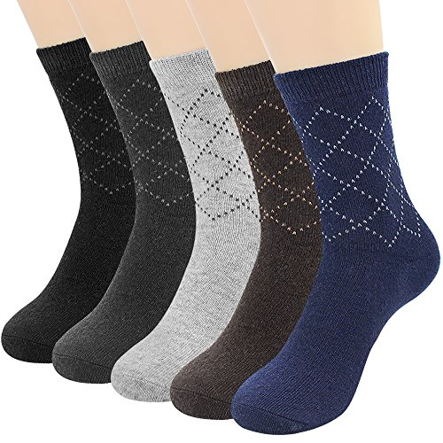 Hippih 5 Pairs Men Dress Socks Cotton Argyle Assorted Colors Socks For Business Casual