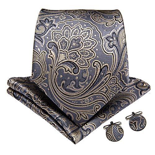 (DiBanGu Silk Tie Grey Necktie and Pocket Square Cufflink Set Woven Paisley Tie for)