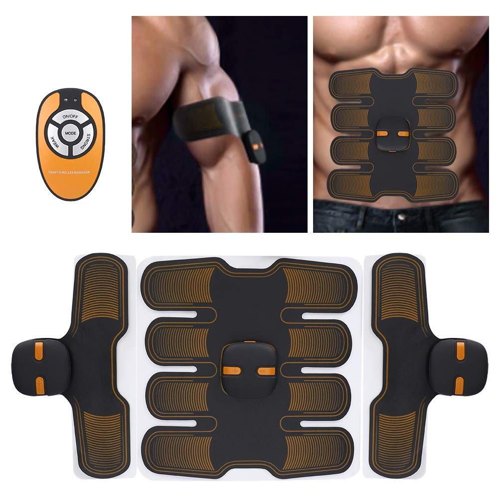 TMISHION Belly Training Belt, Men & Women EMS Bionic Microelectronic Stomach Fat Burning Massage Figure Shaping Fitness Body Massager Home Training Gear Gym Workout Tool(Orange)