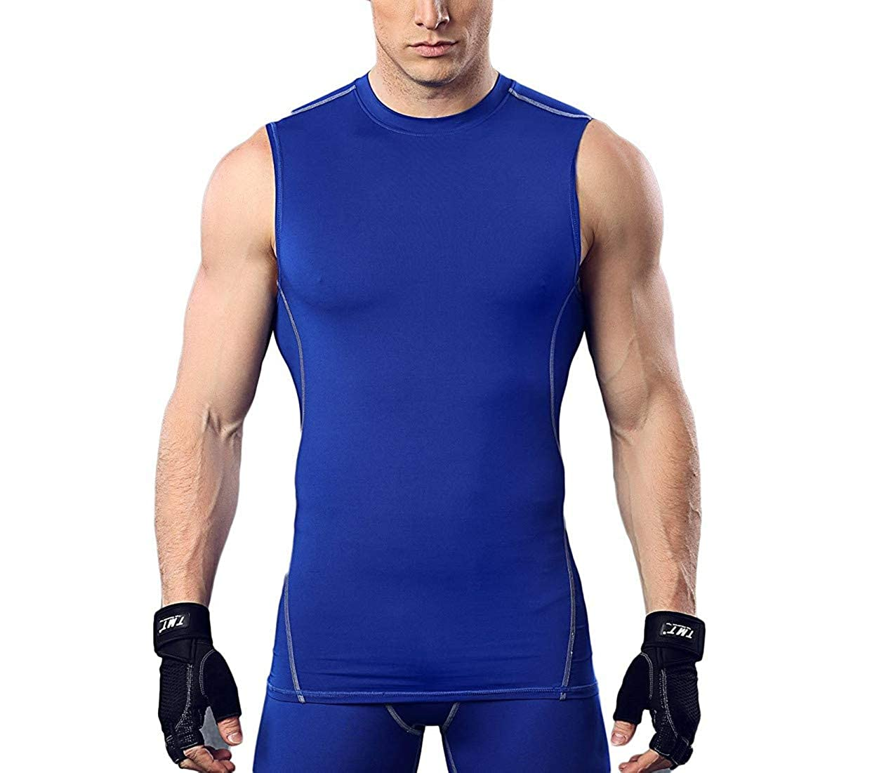 DOLAA Men's Muscle Tank Baselayer Sleeveless Compression Top Running Yoga