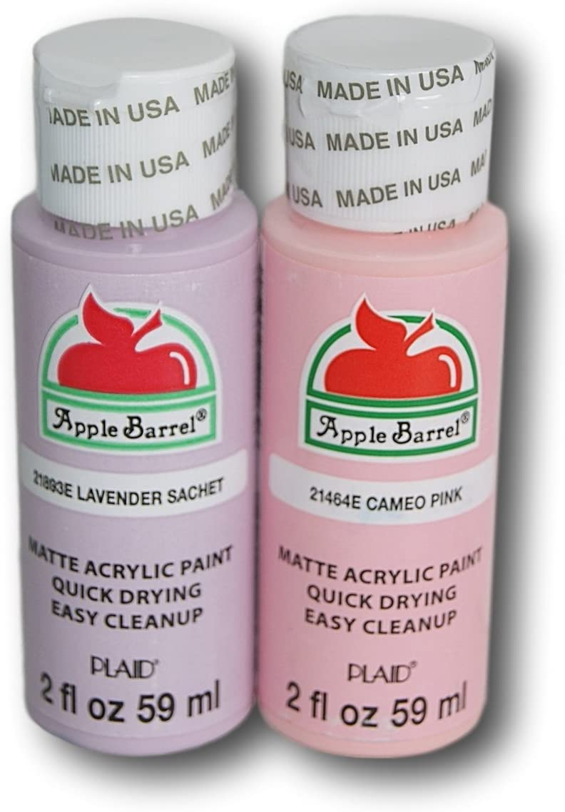 Apple Barrel Acrylic Paint Set - Lavender Sachet and Cameo Pink (2 Ounces Each)