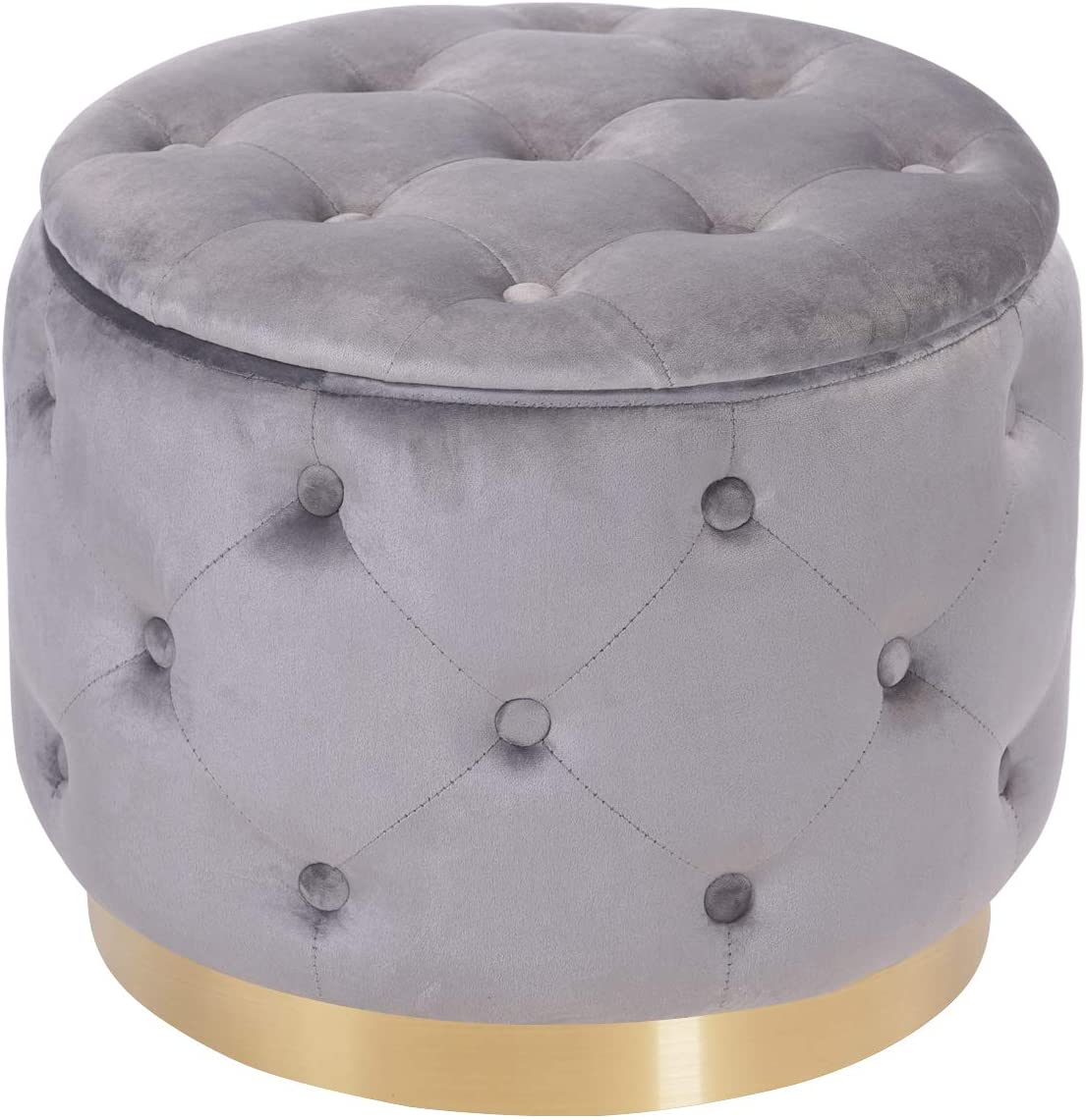 DEERUN Modern Velvet Tufted Button Upholstered Round Storage Ottoman Foot Rest Stool, Vanity Stool, Gray