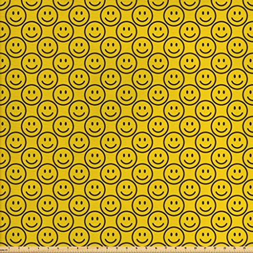 (Ambesonne Emoji Fabric by The Yard, Flat Smiley Faces Expressing Happiness in Diagonal Order Joyful Childhood, Decorative Fabric for Upholstery and Home Accents, Charcoal Grey Yellow)