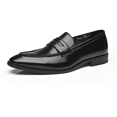 Mens Genuine Embossed Leather Slip On Loafers Formal Dress Business Shoes Moc