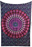 Amitus Exports TM Premium Quality 1 X Round Peacock 80''x52''(Approx.) Inches Pink Purple Color Twin Size Cotton Fabric Tapestry Hippy Indian Mandala Throws (Handmade In India)