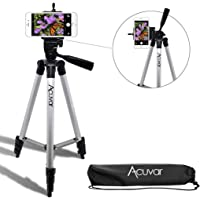 "Acuvar 50"" Inch Aluminum Camera Tripod + Universal Smartphone Mount for iPhone Xs, Max, Xr, X, 8, 8+, Pixel 3, XL, Android Note 9, S9 & More Smartphones"