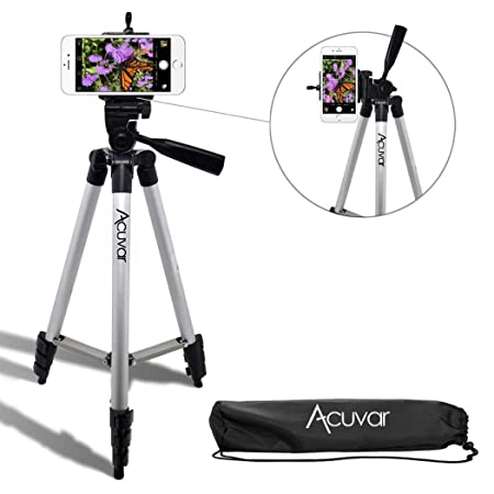 "Acuvar 50"" Inch Aluminum Camera Tripod + Universal Smartphone Mount For I Phone Xs, Max, Xr, X, 8, 8+, Pixel 3, Xl, Android Note 9, S9 & More Smartphones by Acuvar"