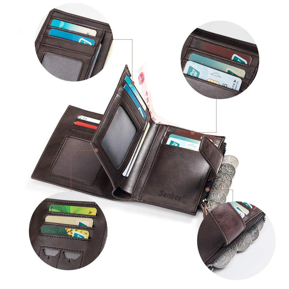 Fathers Day Senbos Mens Wallet Brown Genuine Cowhide RFID Blocking Soft Leather Wallet for Valentines Day