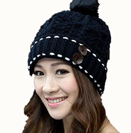 fc724702e681 Amazon.com  Black Fashion Lady Two Buttons Design Knitting Wool Hat Women  Girls Warm Winter Beanies Cap Knitted Crochet Ski Pompom Hat by  SamGreatWorld  ...