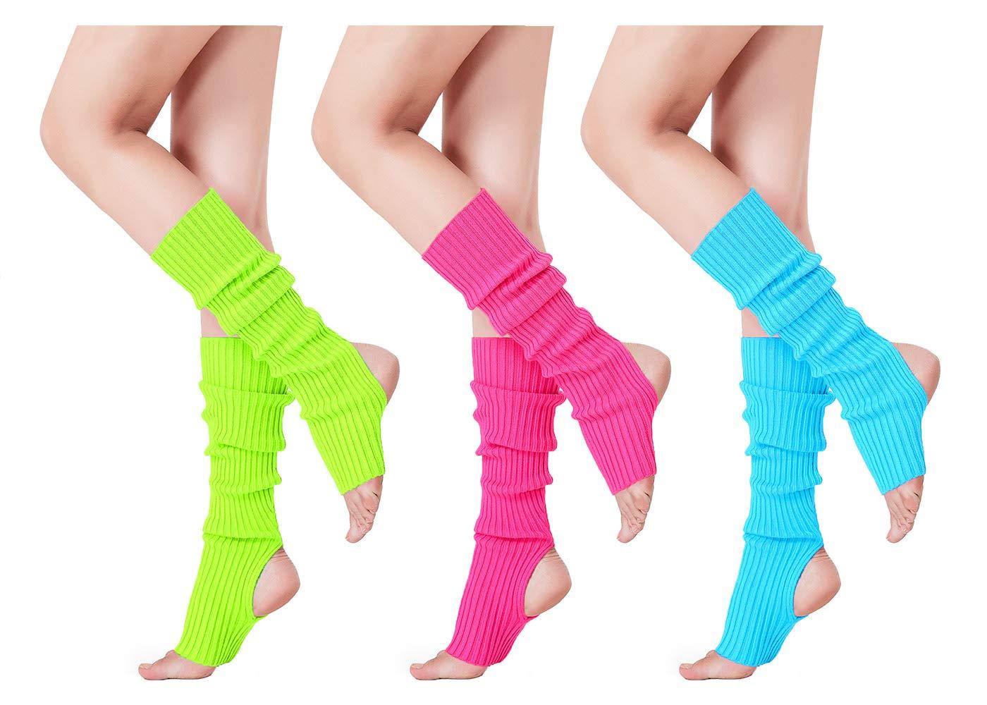 80s Women Stirrup Leg Warmers Ribbed Knit Leg Warmer for Dance Sport Yoga Party