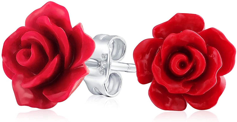 3D Flor Rosa Tallado Pendiente Boton Para Mujer, Para La Madre Adolescente Latón Chapado En Plata Resina Más Colores