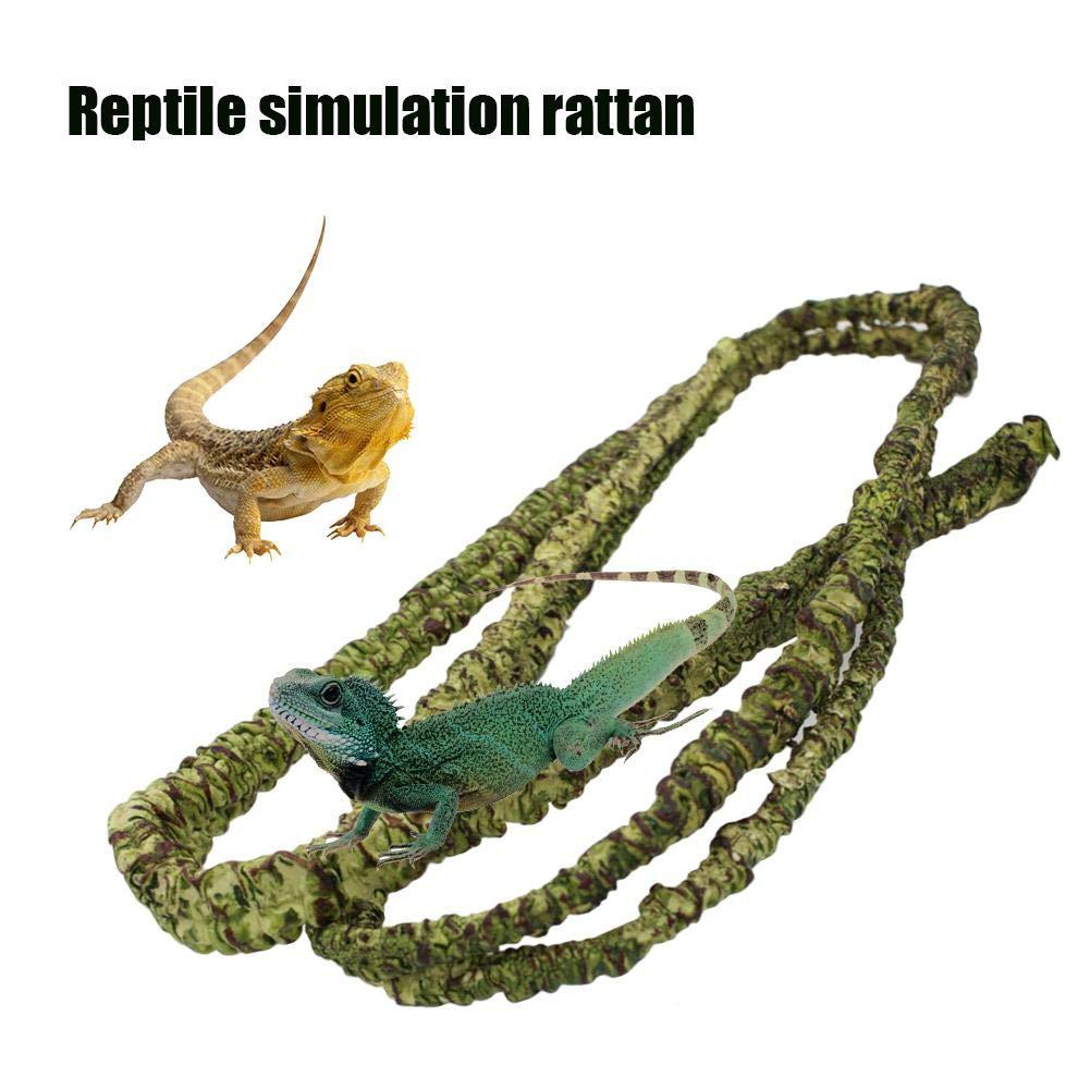 Reptile Climbing Vine Artificial Rainforest Jungle Vines Flexible Bend Branch Reptile Terrarium Cage Box Habitat Decoration Accessories for Lizard Frog Snake