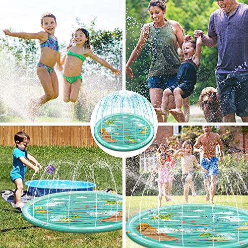 "Rigoo Outdoor Sprinkler Water Toys for Kids and Toddlers 68"",Kids Dinosaur Splash Pad Toys for 2 3 4 5 6 7 8 Year Old Boys and Girls"