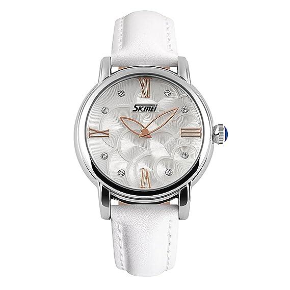Skmei 9095 Mujer de Cuarzo Piel Fashion marca impermeable relojes de pulsera Blanco: Amazon.es: Relojes