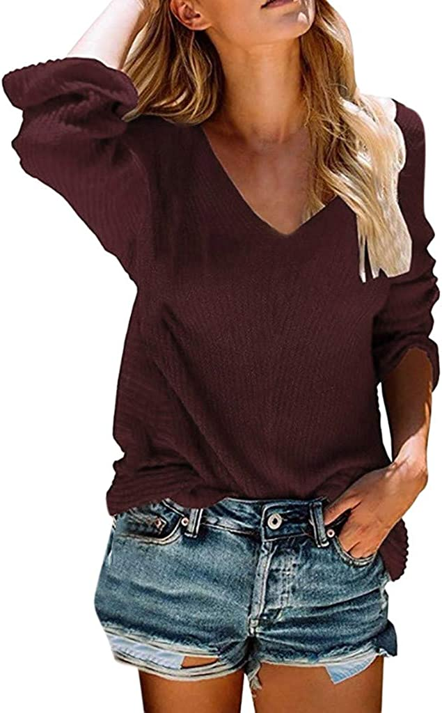 Women Sweater V-Neck Solid...
