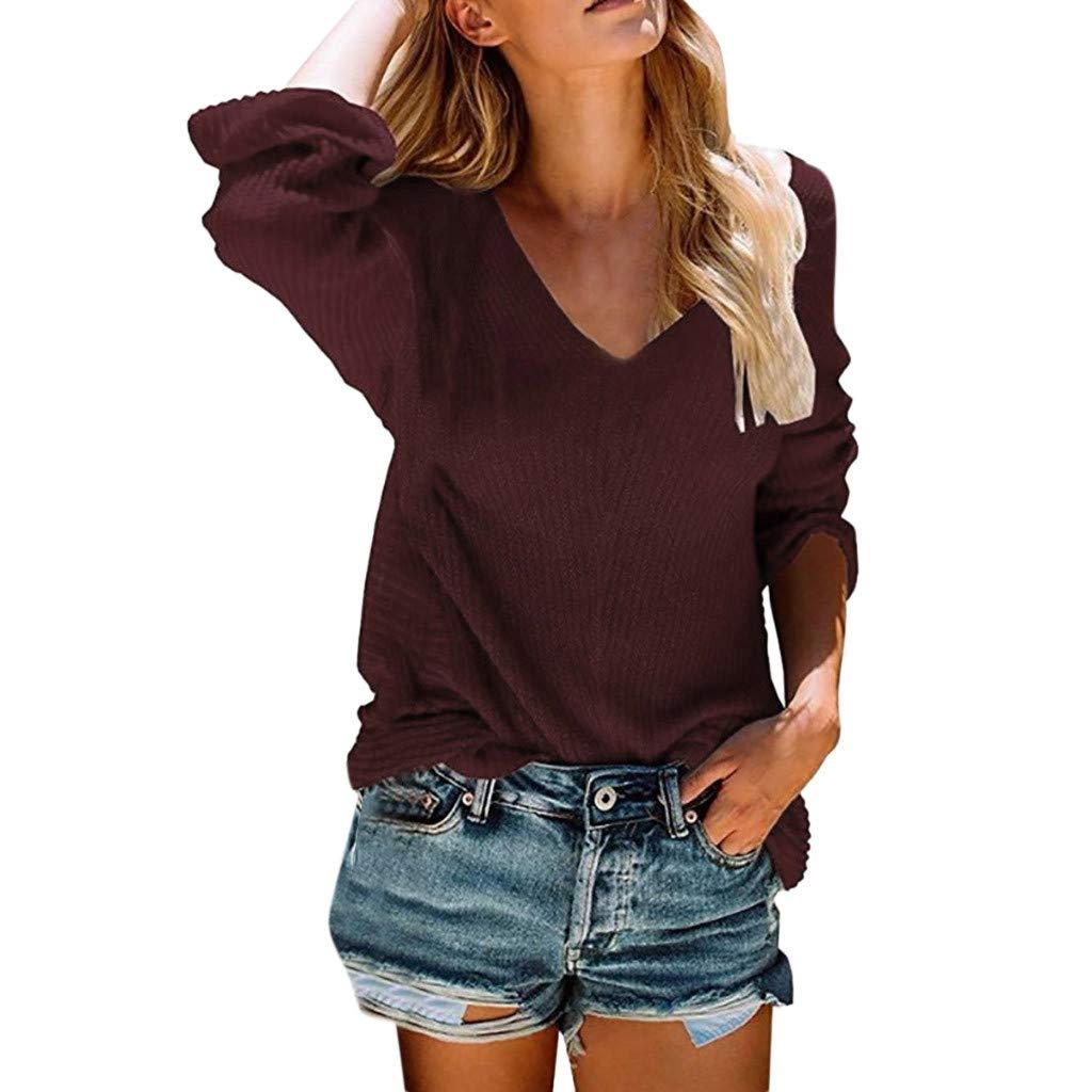 Tantisy ♣↭♣ Women Plus Size V-Neck Long Sleeve Knitting Sweaters Autumn Winter Solid Loose Tunics Blouse Wine