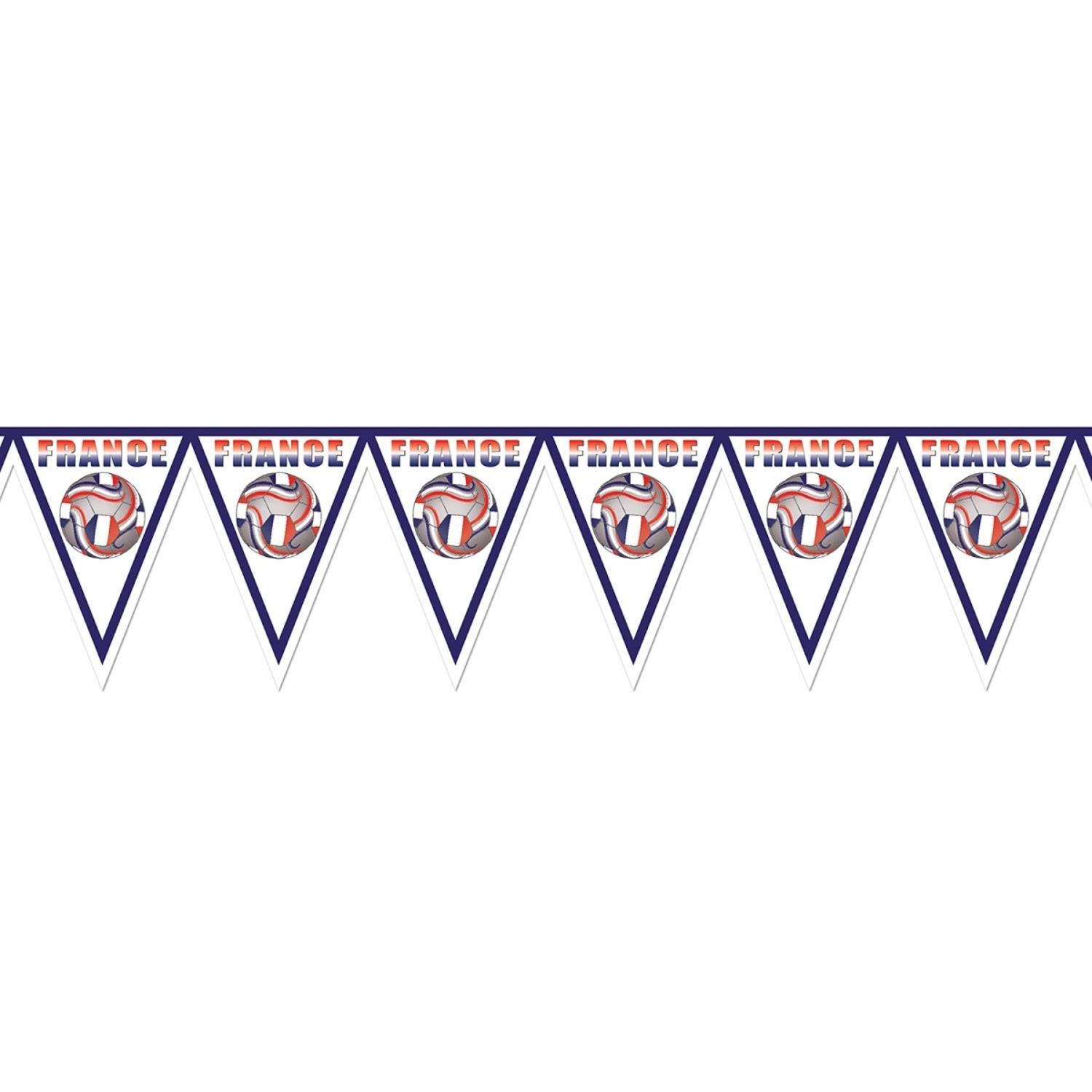 Pack of 6 Red, White and Blue ''France'' Soccer Themed Pennant Banner Party Decorations 7.4'