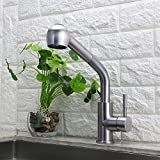 Laundry Sink Faucet Selina Kitchen Sink Faucet, Laundry Commercial Modern Single Lever Single Handle Pull Out Down Sprayer Spout Bar, Brushed Nickel Finish Stainless Steel.