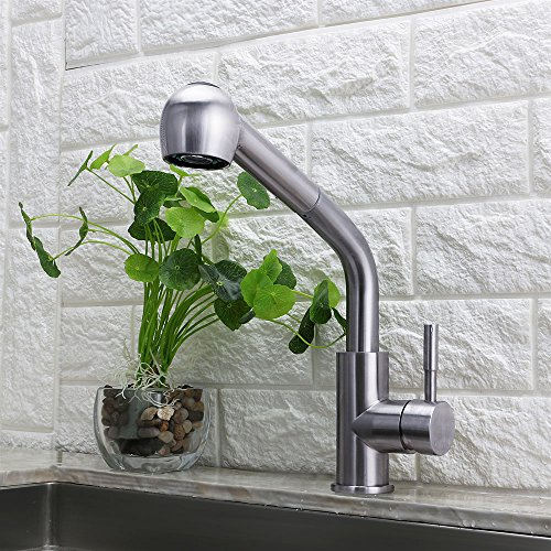 Selina Kitchen Sink Faucet Laundry Commercial Modern Single Lever Single Handle Pull Out Down Sprayer Spout Bar Brushed Nickel Finish Stainless Steel