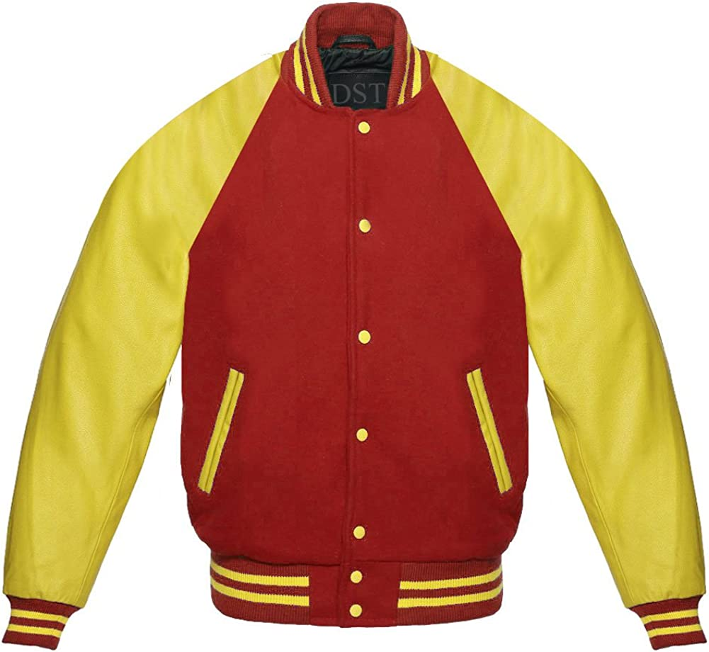 Design Custom Jackets Letterman Baseball Varsity Jacket Yellow Leather Sleeves//Maroon