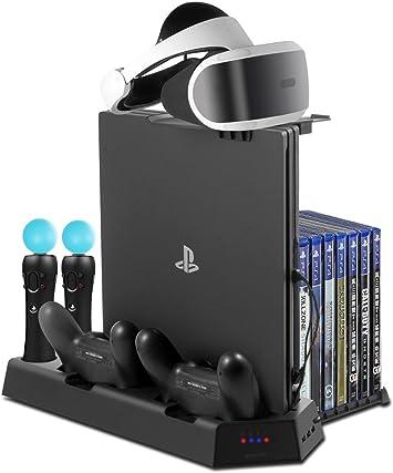 ElecGear Soporte Vertical para Playstation PSVR Stand, Ventilador de Refrigeración, Controlador DualShock y Move Motion Estación de Carga Cargador, USB Hub, 14 Discos de Juego para PS4, Slim y Pro: Amazon.es: Electrónica